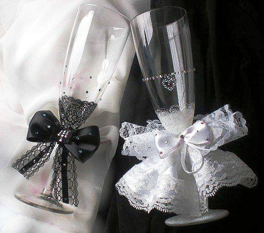 Как украсить фужеры для свадьбы своими руками